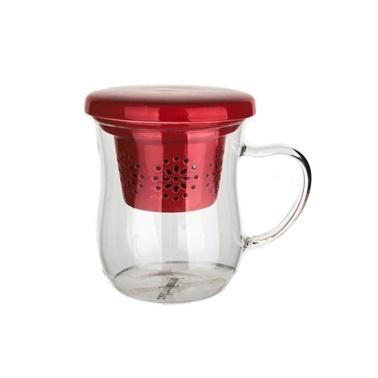 Ultraform Porselen Süzgeçli Kapaklı Oval Kupa Kırmızı Kırmızı